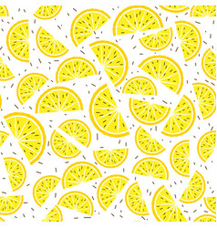 Lemon and orange seamless pattern tropical fruits vector