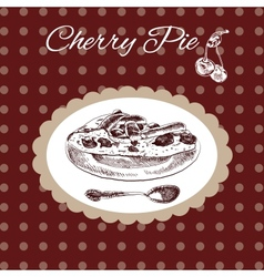 Cherry pie vintage style vector