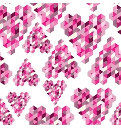 Abstract seamless background with geometric hearts vector