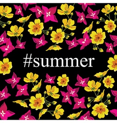 Abstract poster with tag summer floral background vector