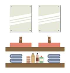 His and her sink with mirrors vector