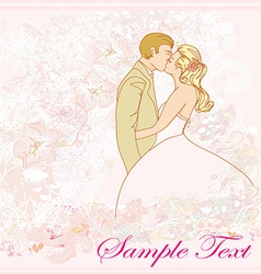 Wedding couple kissing - vintage background vector