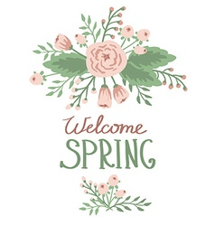 Spring word with floral elements vector