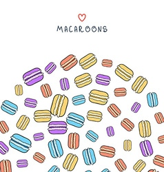 Background of scattered colored doodle macaroon vector