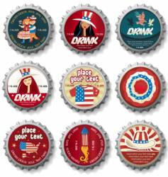 Usa bottle caps vector