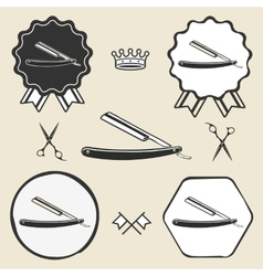 Razor barber symbol emblem label collection vector