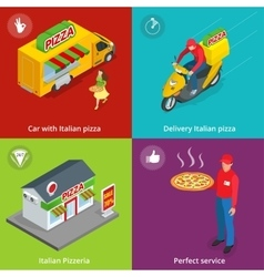 Set Banners with Italian Pizzeria vector image