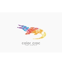 Crocodile logo design color croc animal logo vector