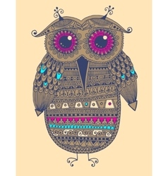 Original ethnic owl ink drawing vector