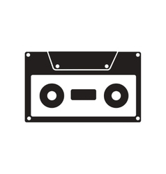 flat icon in black and white style cassette vector image