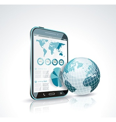 a smart phone and globe vector image vector image