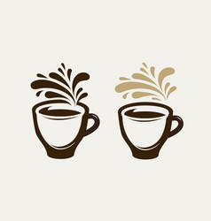 cafe coffeehouse logo or emblem cup of coffee vector image vector image