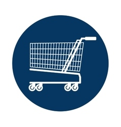 Cart shopping blue background circle icon vector