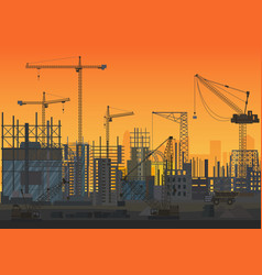 construction skyline under construction sunset vector image