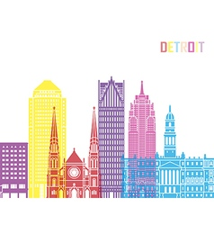 Detroit v2 skyline pop vector