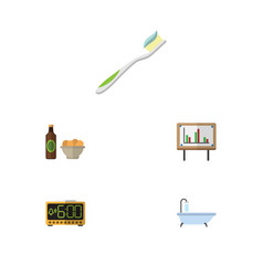 Flat icon life set of tub whiteboard beer with vector