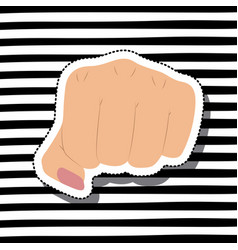Girl power with fist in skin color sticker on vector