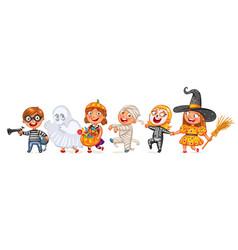 happy halloween funny little children vector image vector image