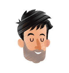 Happy man with closed eyes icon image vector