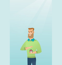 Insurance agent protecting model of house vector