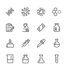 laboratory equipment icons set line icons vector image vector image