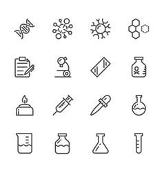 Laboratory equipment icons set line icons vector