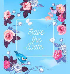 lovely save the date template with semi-colored vector image vector image