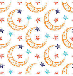 ornate moon and stars seamless pattern vector image vector image