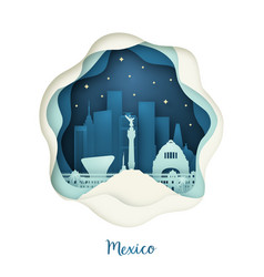 paper art of mexico origami concept night city vector image