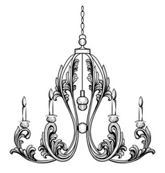 Rich rococo classic chandelier luxury decor vector