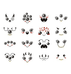 Set of cute lovely kawaii alien emoticon vector image vector image