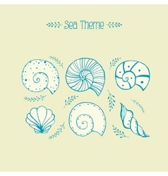 Set of objects sea shells in sketch vector image