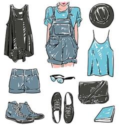 stylish fashion set vector image vector image