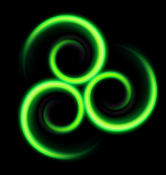 Three an abstract green swirls on black vector