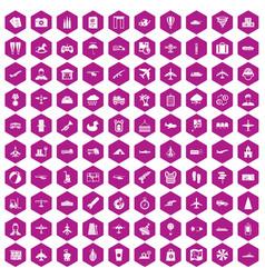 100 plane icons hexagon violet vector