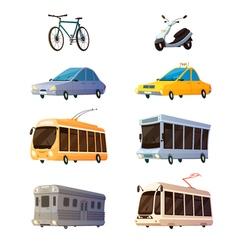 City Transport Flat Cartoon Icons vector image