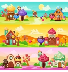 Sweets Landscape Banners Set vector image