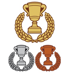 Trophy cup with laurel wreath vector