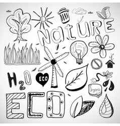 Ecology nature doodles vector
