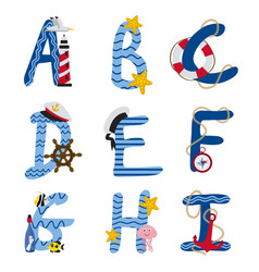 alphabet nautical from a to i vector image