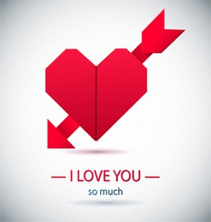 Paper origami symbolic heart vector
