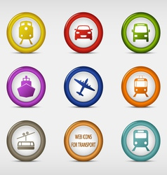 Set of colored round web icons for transport vector