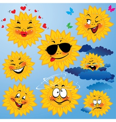Set of cute cartoons of sun with different express vector
