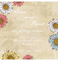 Vintage ornament with sunflowers vector