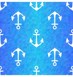 Seamless blue triangle pattern with white anchors vector