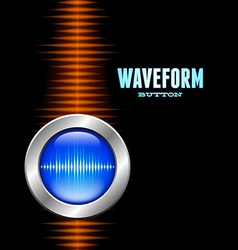 Silver button with sound waveform and orange wave vector