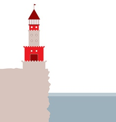 Lighthouse rocky island ocean red and beige vector