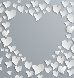 Abstract white paper hearts vector