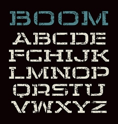 Stencil plate font in racing style vector