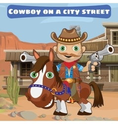 Cool cowboy with guns on a city street wild west vector